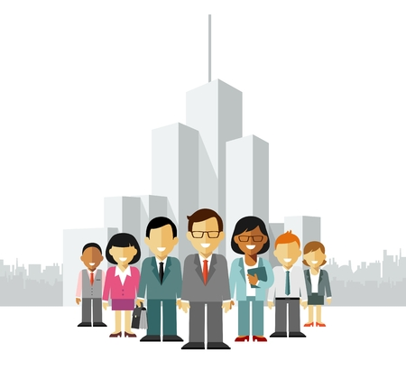 multicultural group: Group of different business people in community isolated on white background Illustration