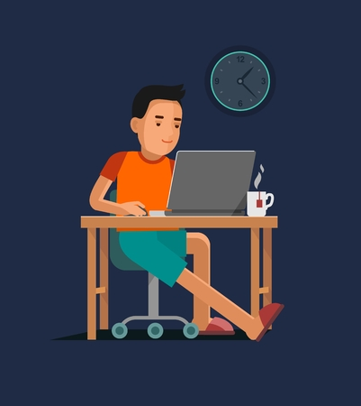 Young man sitting at the computer desk with laptop and working Vectores