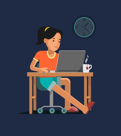 young woman sitting: Young woman sitting at the computer desk with laptop and working