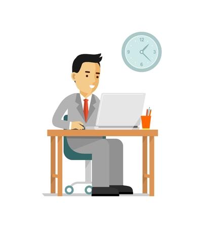 to sit: Joven sentado en el escritorio de la computadora con el ordenador portátil y trabajar