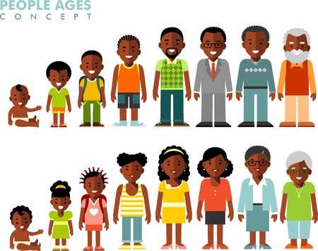 Man and woman african american ethnic aging - baby, child, teenager, young, adult, old