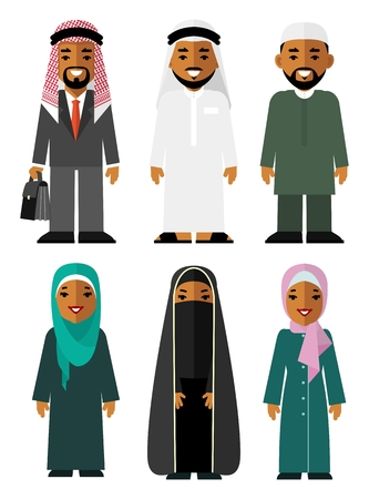 Diferentes árabes étnicos hombre y mujer personajes sonrientes en ropa tradicional