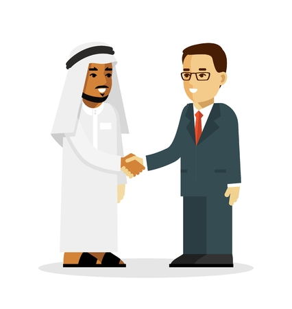 shakes: Arabic and european ethnic man characters smiling and shake hands
