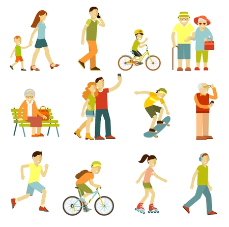 active adult community: People on the street in different activity situation - walking, cycling, running, recreation in flat style isolated on white background