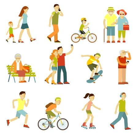 Persone per strada in diverse attività - camminare, andare in bicicletta, correre, ricreazione in stile piano isolato su priorità bassa bianca