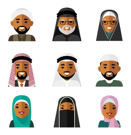 다른 이슬람 사우디 아랍어 민족 남자와 여자 웃는 얼굴을 전통적인 의류 일러스트