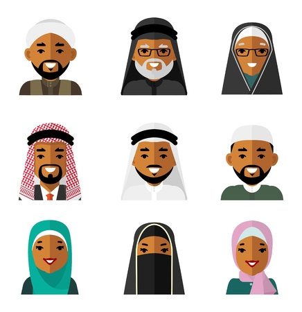Verschiedene islamische saudi arabischen ethnischen Mann und Frau lächelnd Gesichter in der traditionellen Kleidung