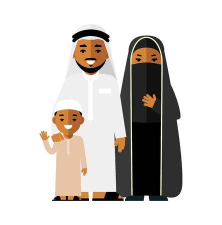 Father, mother and son standing together in traditional arab clothes Иллюстрация