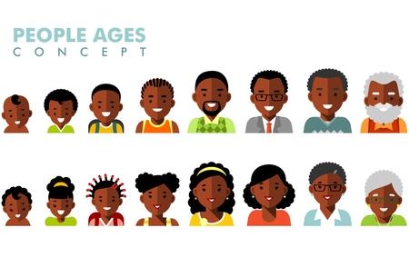 Hombre y mujer africano americano iconos envejecimiento étnicos - bebé, niño, adolescente, joven, adulto, viejo Ilustración de vector