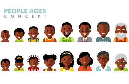 Man and woman african american ethnic aging icons - baby, child, teenager, young, adult, old Stock Illustratie