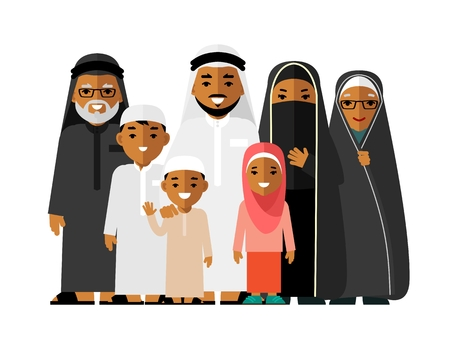 grandmother mother daughter: Arab people father, mother, son, daughter, grandmother and grandfather standing together in traditional islamic clothes