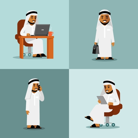 man at the phone: Young saudi arabic man in computer, tablet pc and smartphone business internet working Illustration