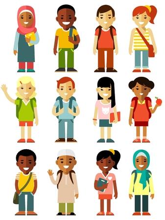 白い背景に分離された多文化学校子供のグループ