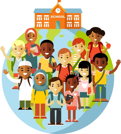 Different school children on earth globe and school background in flat style Ilustração