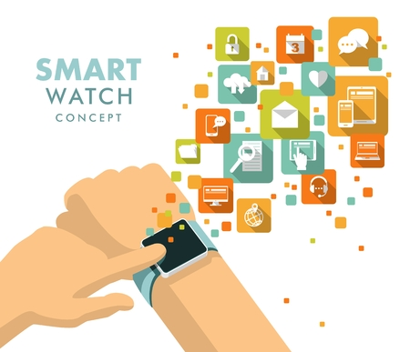 smart man: Man hand with modern smart watch and apps icons