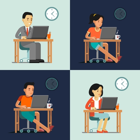 dia y noche: El hombre joven y la mujer sentada en el escritorio de la computadora con el ordenador portátil y trabajar
