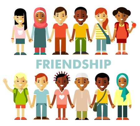 amicizia: gruppo multiculturale ragazzi in piedi in fila insieme, isolato su sfondo bianco