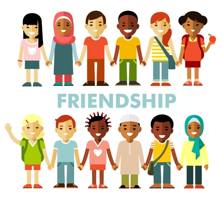friendships: Multicultural kids group standing in row together, isolated on white background Illustration