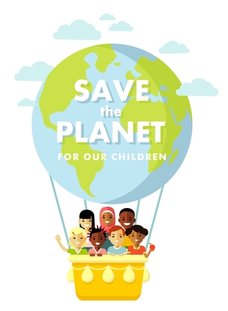 Different international multicultural children on the planet Earth balloon background