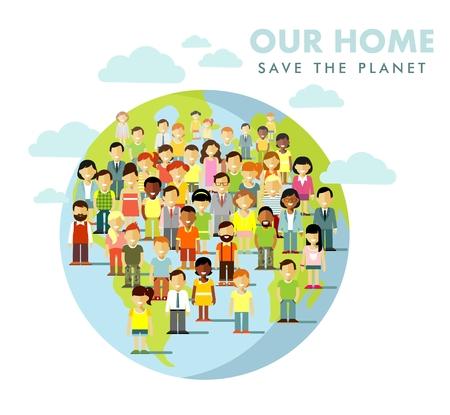 Verschillende multiculturele multi-etnische mensen menigte op de planeet Aarde achtergrond