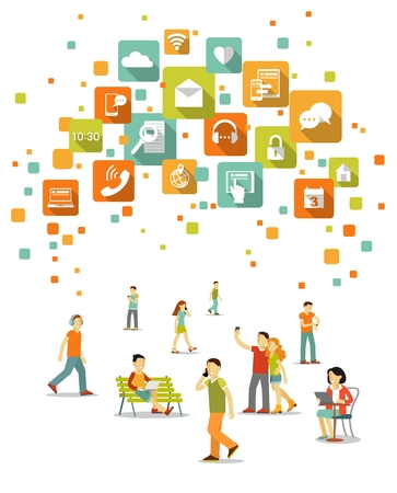 Young people, man and woman using modern mobile smart phone, computer, tablet pc, laptop and apps icons