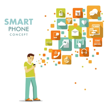 mobile apps: Young man standing with modern mobile smart phone and apps icons Illustration
