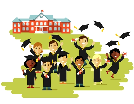 Happy young graduate students people with graduate cap and certificate on college building background Illustration