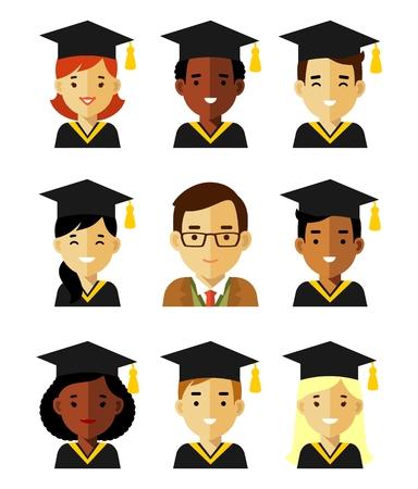 iconos y de maestros diferentes estudiantes graduados jóvenes feliz con el casquillo graduado aislados sobre fondo blanco