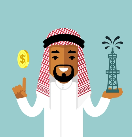 Young saudi arab businessman with oil rig and money