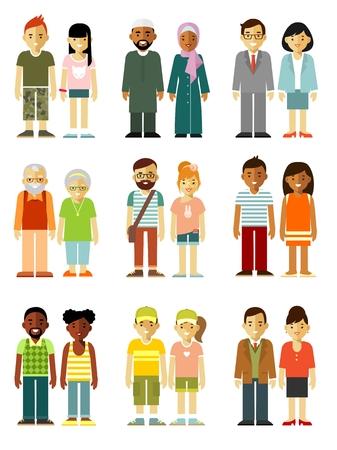 etnia: Diferentes personas étnicos sonriente pareja de personajes estilo plano aislado en el fondo blanco Vectores