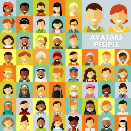 フラット スタイルの異なる多文化の人々 アバター設定します。