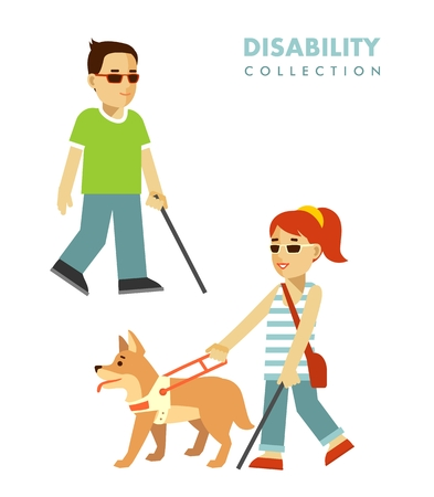 Young disabled blind man and woman with stick and guide dog isolated on white background
