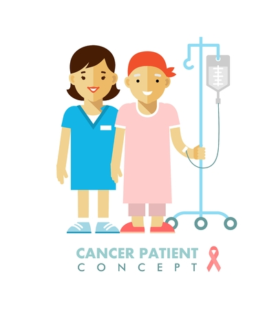 Nurse and young cancer patient after chemotherapy on white background
