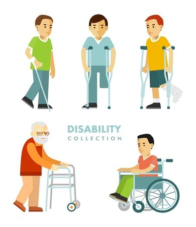 Les jeunes et les personnes âgées hommes handicapés en fauteuil roulant, avec des béquilles, bâton, marcheur isolé sur fond blanc