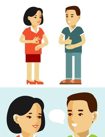 idiomas: hombre sordomudo discapacitados y una mujer jóvenes se comunican mediante el lenguaje de signos aislados sobre fondo blanco