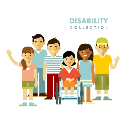 Jonge gehandicapte vrouw in rolstoel samen met vrienden op een witte achtergrond