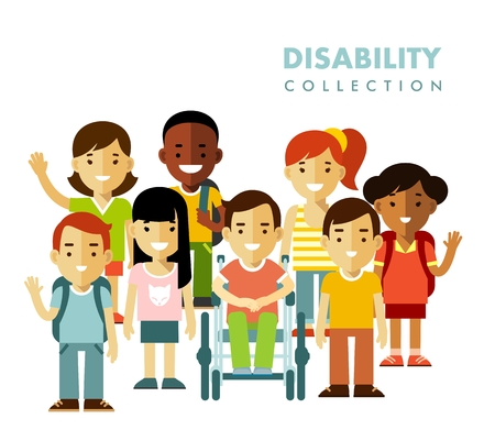 Chłopiec niepełnosprawnych na wózku inwalidzkim wraz z przyjaciółmi na białym tle