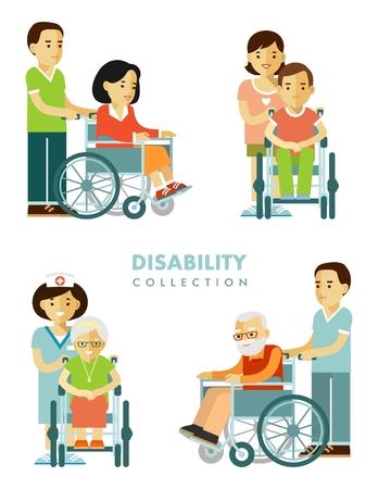 jóvenes discapacitados y ancianos en sillas de ruedas con la enfermera aislados en el fondo blanco