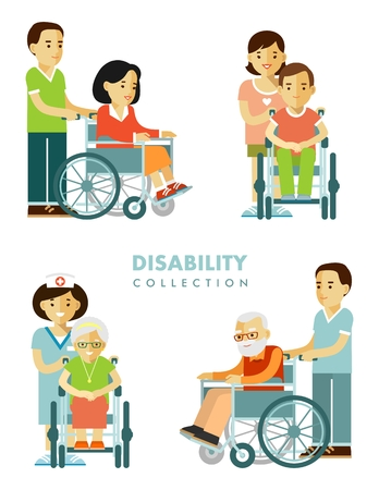 Young and old disabled people in wheelchairs with nurse isolated on white background