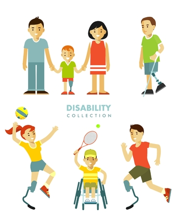 Young disabled person with prosthesis, in wheelchair in sport activity, child and family isolated on white background