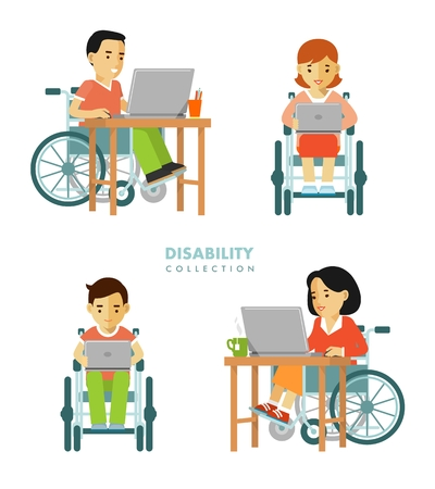 impaired: Young disabled man and woman in wheelchair work with computer isolated on white background Stock Photo