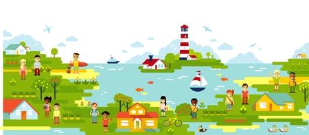Mer et village ville fond panoramique dans un style plat Banque d'images - 61618526