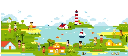 rural community: Sea and town village panoramic background in flat style Illustration