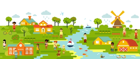 rural community: Garden and town village panoramic background in flat style
