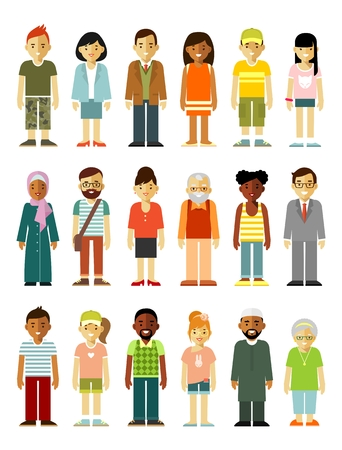 Different ethnic smiling multicultural persons in flat style isolated on white background Illustration