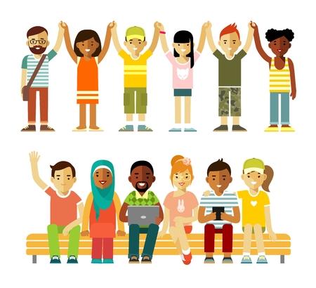 Groupe de personnes différentes dans la communauté isolé sur fond blanc