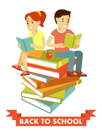 couple together: School boy and girl sit on big books and riding