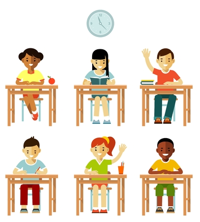 multicultural group: Multicultural kids group sit at desks in classroom isolated on white background