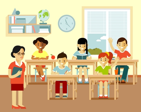 young group: Young teacher woman in classroom and multicultural kids group sit at desks, isolated on white background
