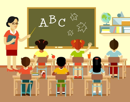 Young teacher woman in classroom and multicultural kids group sit at desks, isolated on white background